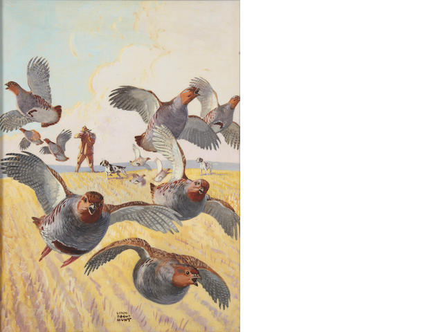 Lynn Bogue Hunt (American, 1878-1960) Hunter and fleeing partridges 16 x 11 1/2 in. (40.5 x 29.1 cm.)