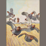 Lynne Bogue Hunt, Hunter and fleeing partridges, signed, gouache on paper, 16 x 12in