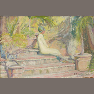 Minnie Rachel Lazarus, Woman on steps, signed, oil on canvas, 8 x 12in