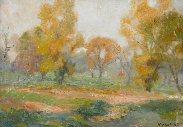 Edouard Vysekal (American, 1890-1939) Autumn in St. Paul, signed, oil on board, 8 x 12in