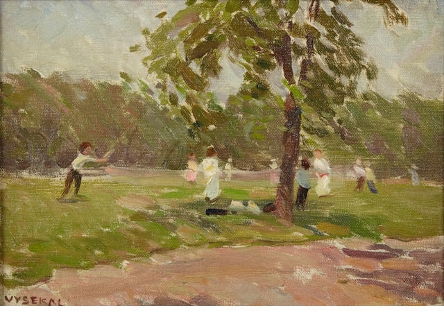 Edouard Vysekal (American, 1890-1939) Children playing, signed oil on canvas board, 8 x 12in