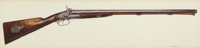 Oleg Stavrowsky (American, born 1927) A rifle, signed 'Oleg Stavrowsky'; A six-shooter and signed 'Oleg'; together with another