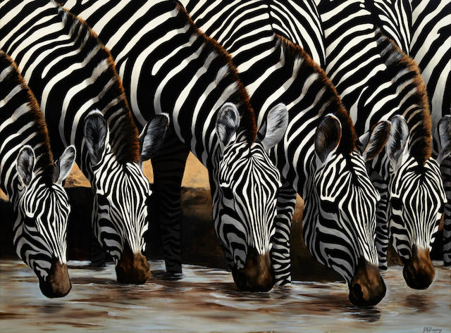Jim Gregory (American, 20th Century), Zebras watering, signed, oil on board, 36 x 48in