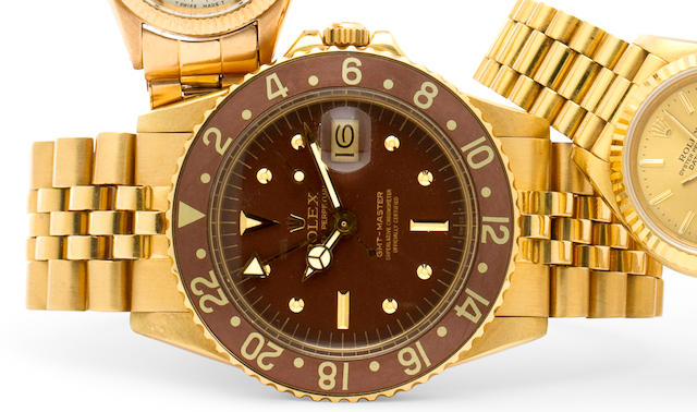 Rolex. A fine 18K gold automatic dual time zone center seconds wristwatch with date and braceletGMT-Master, Ref: 1675, Case no. 3315494, circa 1972