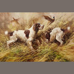 Nick Carston, Pointers and pheasants, signed and dated '1988', oil on canvas, 24 x 36in Nick Carston, Pointers and pheasants, signed and dated '1988', oil on canvas, 24 x 36in