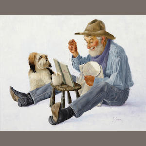 Gerald Farm (American, born 1935) In stitches, signed, oil on board, 11 x 14in