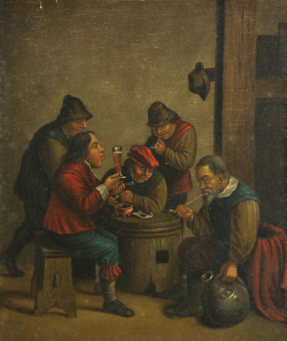 Manner of David Teniers the Younger A tavern interior with figures 12 1/4 x 10 1/2in