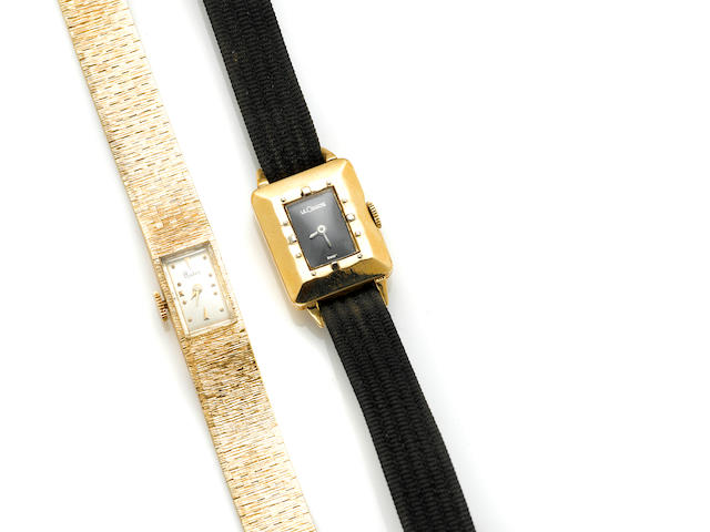 A 14 karat gold bracelet wristwatch, Ruser