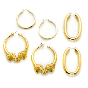 A pair of 18 karat gold tube hoops, Italy weight 15.8g; A pair of gold ear hoops with 'horse' motif weight 7.6g; A pair of 14 karat gold hoops weight 3.3g