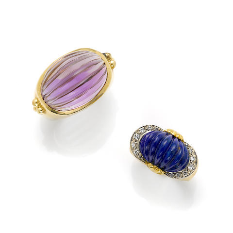 A fluted ameythst and 14 karat gold ring, David Yurman together with A fluted lapis lazuli, single-cut diamond, and gold ring