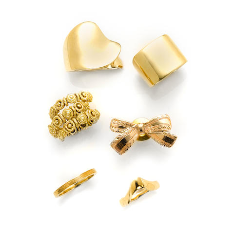 A group of 18k and 14k gold jewelry