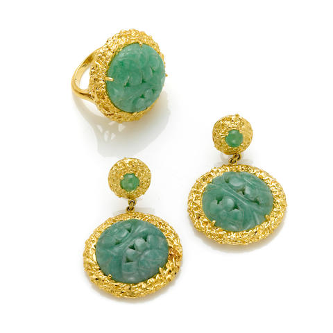 A pair of carved jadeite and 18 karat gold earrings together with a A carved jade and 18 karat gold ring