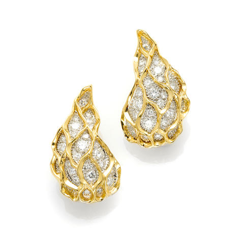 A pair of round brilliant cut diamond and textured honeycomb ear clips