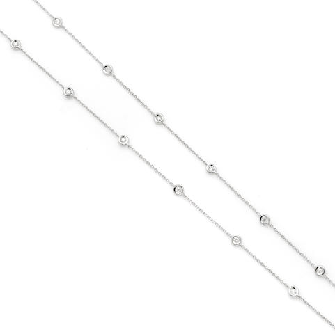 A round brilliant cut diamond and 14 karat white gold 'diamonds by the yard' chain length 30in