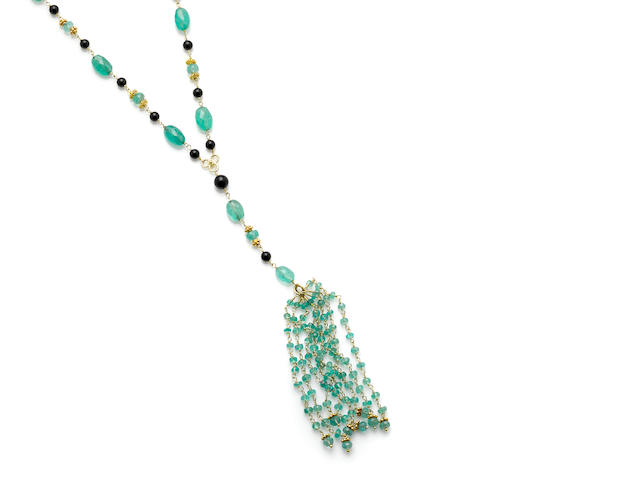 A briolette emerald, black onyx and 18 karat gold tassel necklace