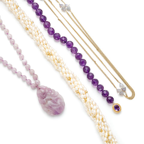A group of amethyst beads, rice pearls and gold jewelry and articles