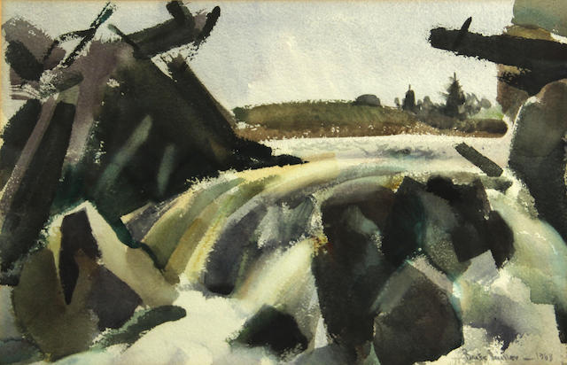 Barse Miller (American, 1904-1973) West bay stream, 1963 sight: 12 x 19in
