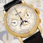 Patek Philippe. A rare and very fine 18K gold chronograph wristwatch with registers, perpetual calendar and moon phasesRef:2499, Case no. 691621, Movement No. 868353, circa 1955