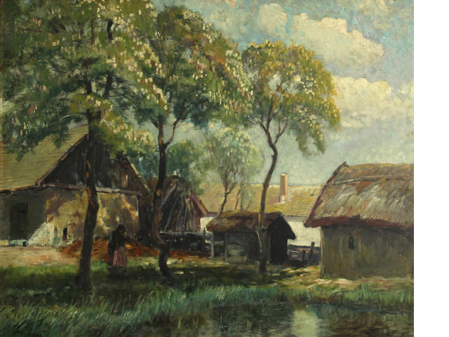 Ignac Ujvary, Lady by a pond in a village, signed l/l, o/bd, 22 x 27in