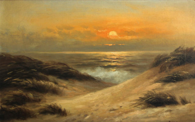 Nels Hagerup (Norwegian/American, 1864-1922) Sunset on Ocean Beach 16 1/2 x 26in
