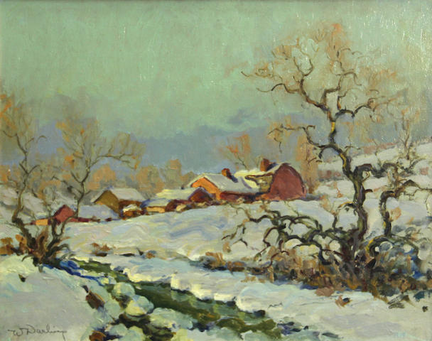 William Darling (American, 1882-1963) Winter on the farm 16 x 20in