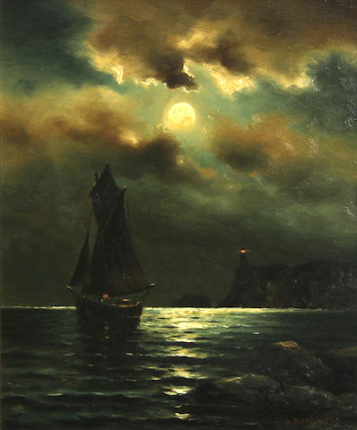 Nels Hagerup (Norwegian/American, 1864-1922) Ship in moonlight 12 x 10in