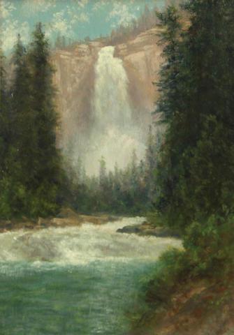 Charles Dormon Robinson (American, 1847-1933) Nevada Falls, Yosemite 12 x 9in