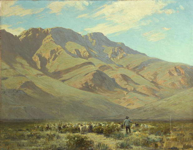 Victor Coleman Anderson (American, 1882-1937) Shepard and his flock with mountains beyond, 1929 14 x 18in