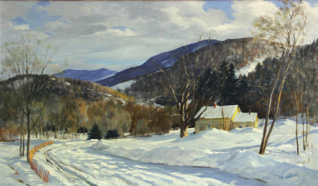 Frank Gervasi (American, 1895-1986) Country home in winter 18 x 30in