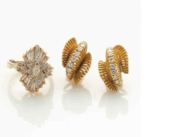 A group including a diamond ring and diamond earrings