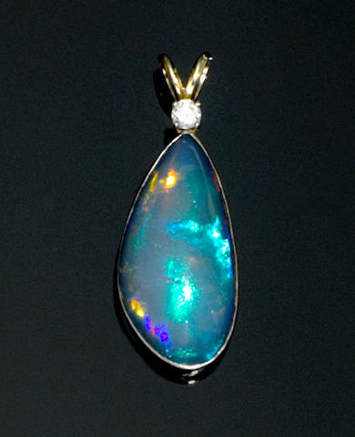 Hydrophane Crystal Opal and Diamond Pendant