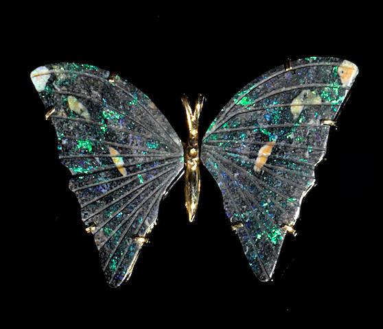 Andamooka Matrix Opal Butterfly Pendant