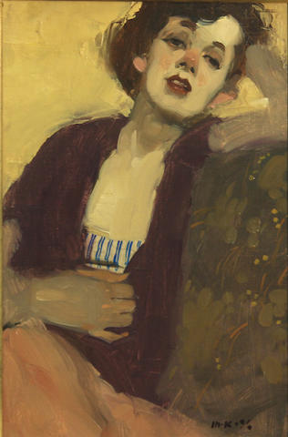 Milt Kobayashi (American, born 1950) Seated woman 12 x 8in