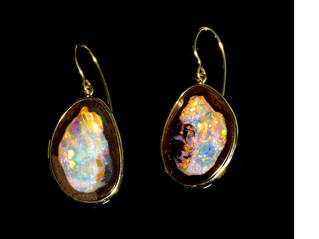 Pair of Boulder Opal and Gold Earrings (Yowah Nut Earrings)