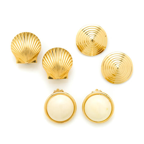 A group of three pairs of 14k gold and white coral earclips