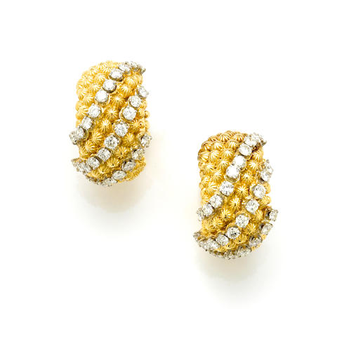 A pair of diamond and 18k gold hoop earclips
