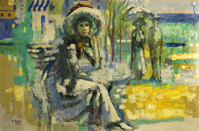Germano Russo (Italian, born 1935) Seated woman in a park, 1966 24 x 36in