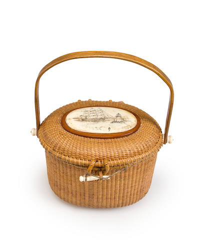 An Oval Nantucket Friendship Basket by S. Gibbs Maker, Nantucket Mass