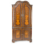 A Dutch ornate marquetry two-part corner cabinet <BR />last quarter 18th century