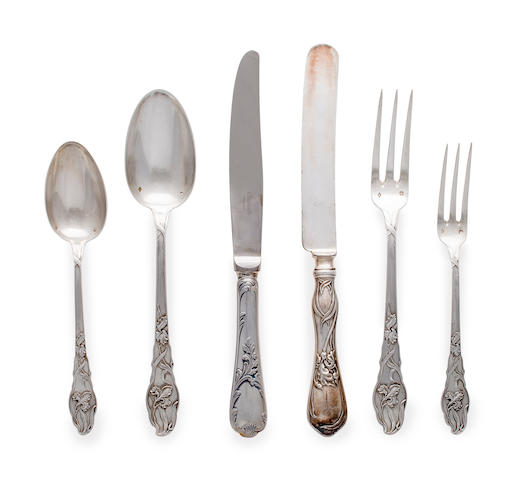 A French first standard silver Art Nouveau partial flatware service<BR />R&B, Paris, circa 1900, possibly manufactured by Robert Dimes Co.