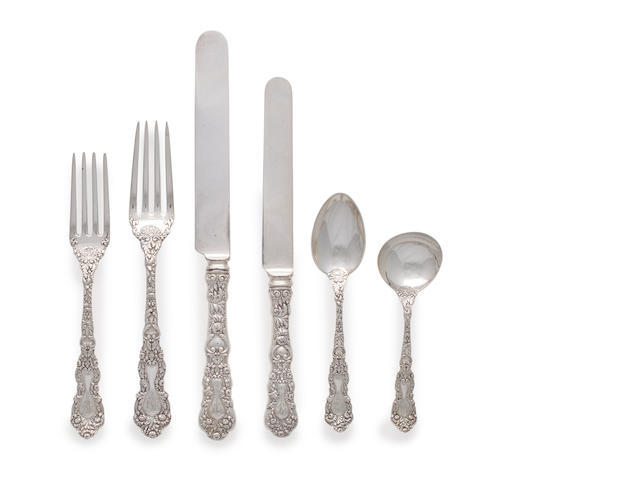 60-piece sterling silver chrysanthemum flatware set by Gorham