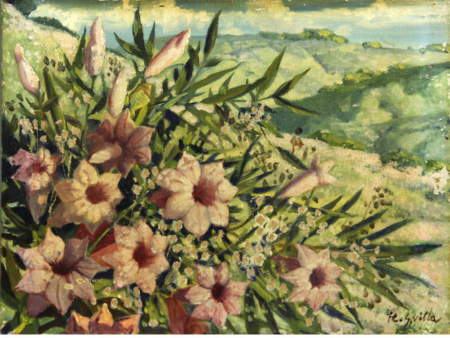 Hernando Gonzallo Villa (American, 1881-1952) Pink wildflowers on rolling hills 12 x 16in unframed