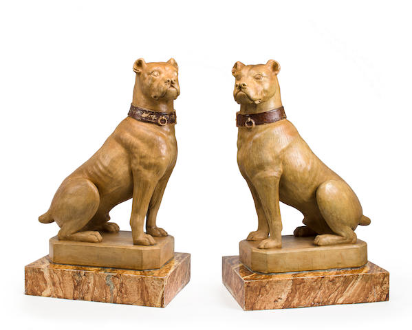 Pair of French late 19th century painted terracotta bulldogs