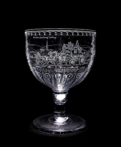 English glass goblet etched by Lawrence Whistler and presented to Mary Jane Hardwicke by Pamela Woolworth for Four-in-Hand prize