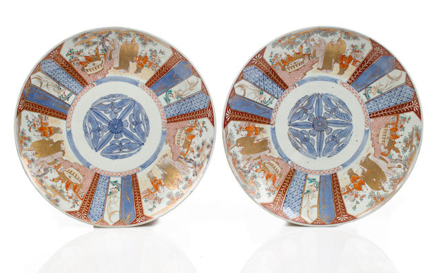 A pair of large blue & orange colored Imari chargers