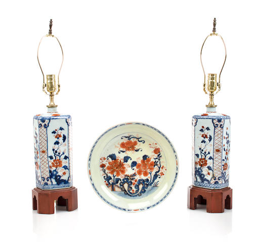 A pair of Imari vases now mounted as table lamps including a small partially restored charger