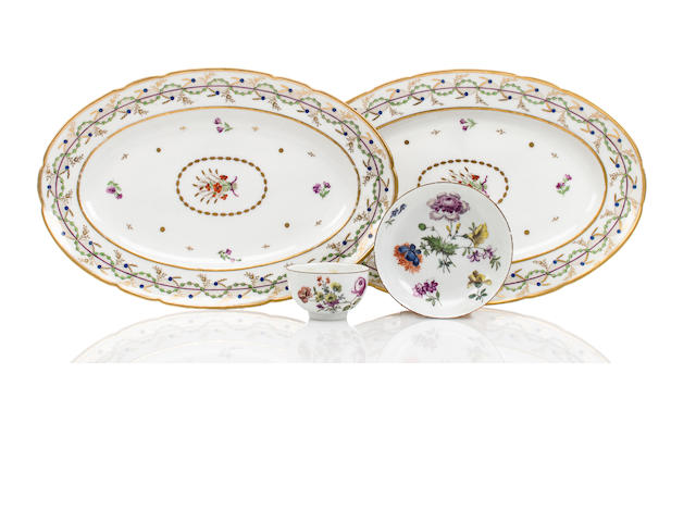 A pair of Vieux Paris oval platters together with a Meissen tea bowl and saucer