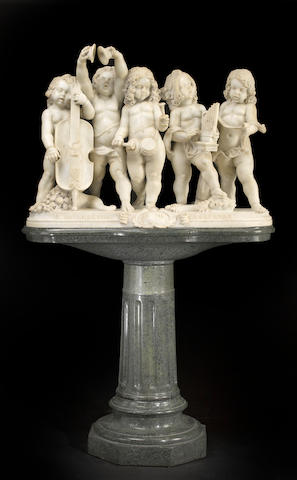 An Italian marble group of five young musicians raised on separate verde antico marble pedestal  early 20th century