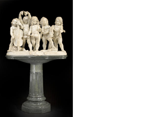 An Italian marble group of five young musicians raised on separate verde antico marble pedestal <BR />early 20th century