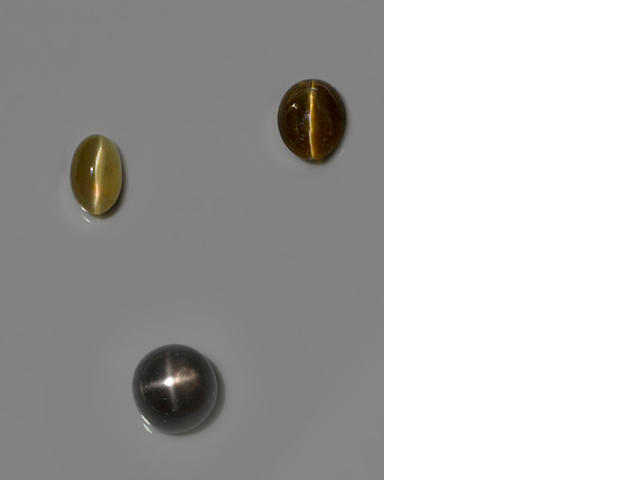Two Cat's Eye Apatites and a Star Moonstone